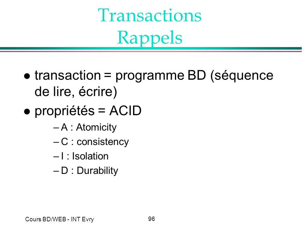 Transactions Rappels transaction = programme BD (séquence de lire, écrire) propriétés = ACID. A : Atomicity.