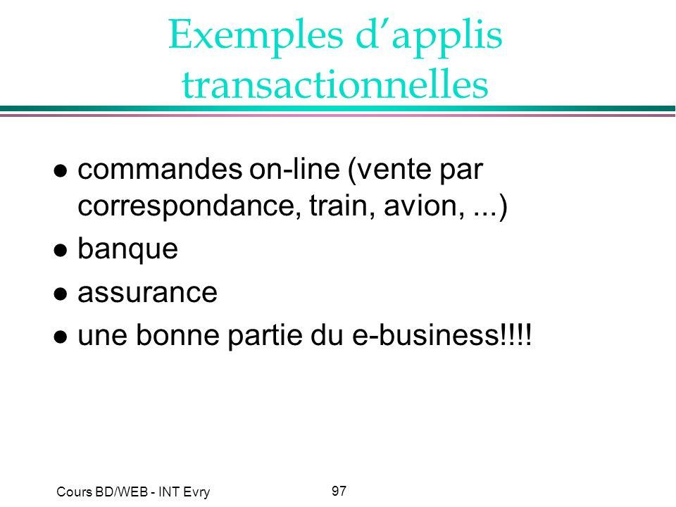 Exemples d'applis transactionnelles