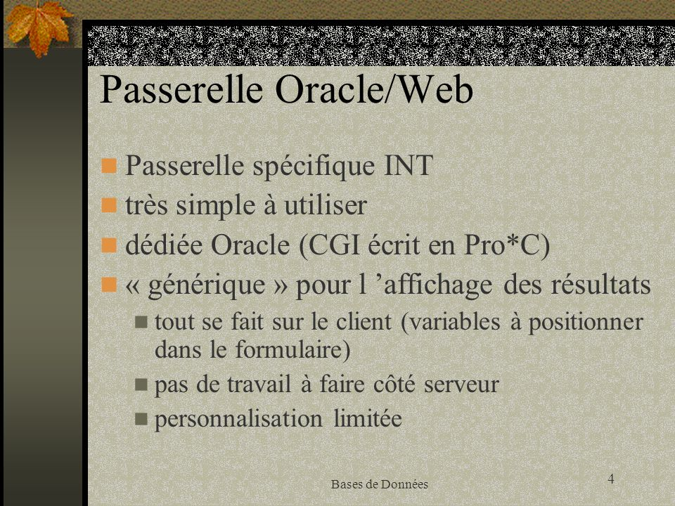 Passerelle Oracle/Web