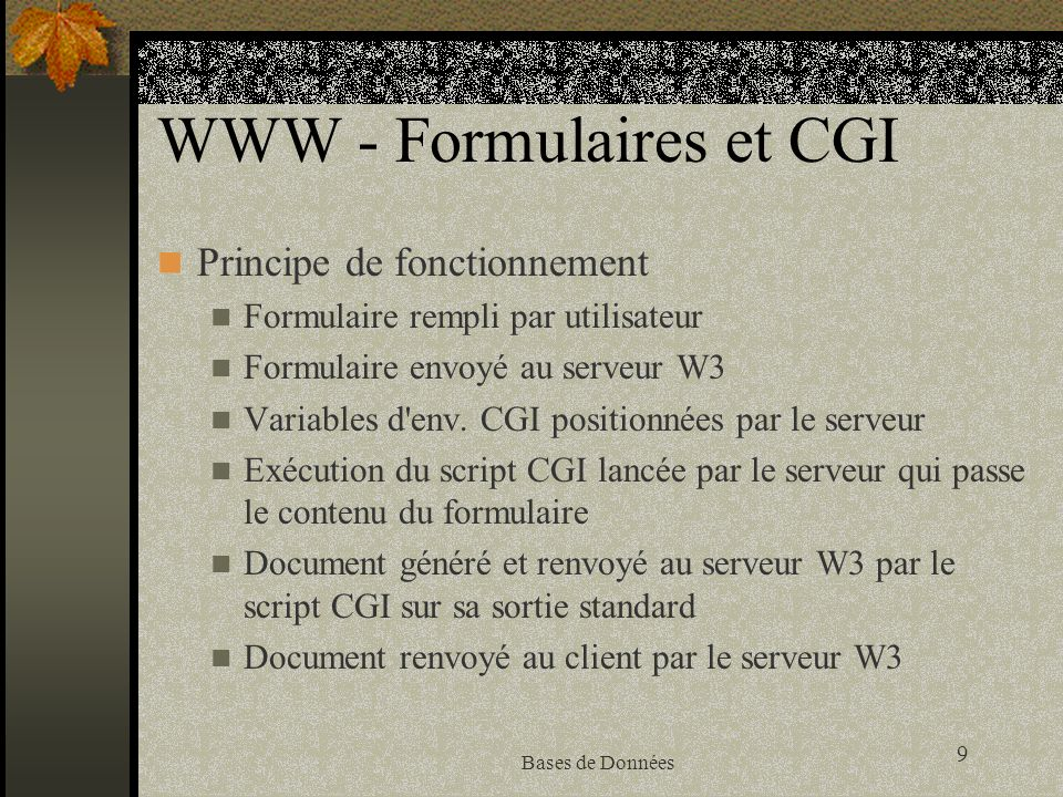 WWW - Formulaires et CGI