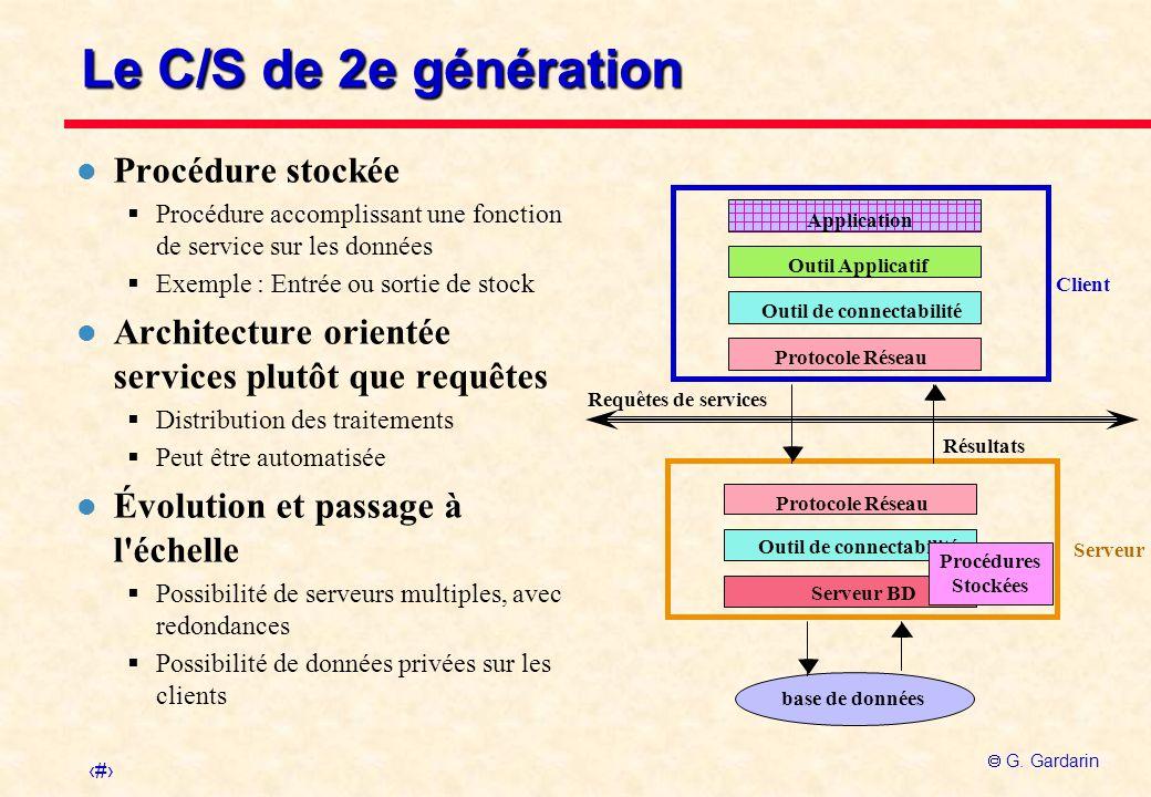 Le C/S de 2e génération Procédure stockée