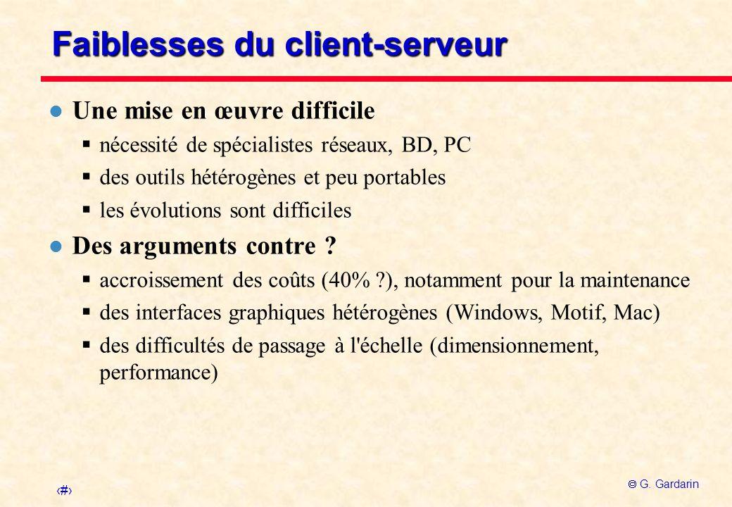 Faiblesses du client-serveur