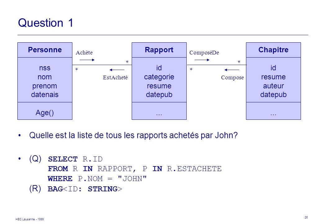 Question 1 Quelle est la liste de tous les rapports achetés par John