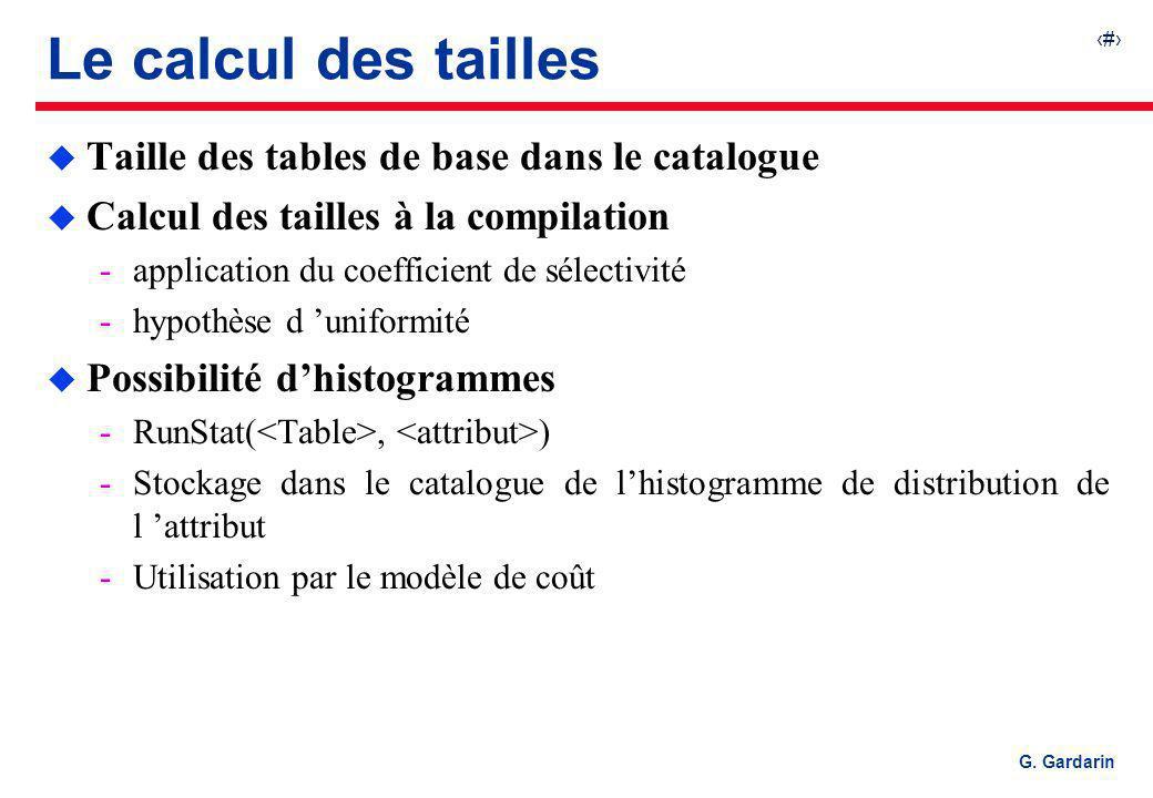 Le calcul des tailles Taille des tables de base dans le catalogue