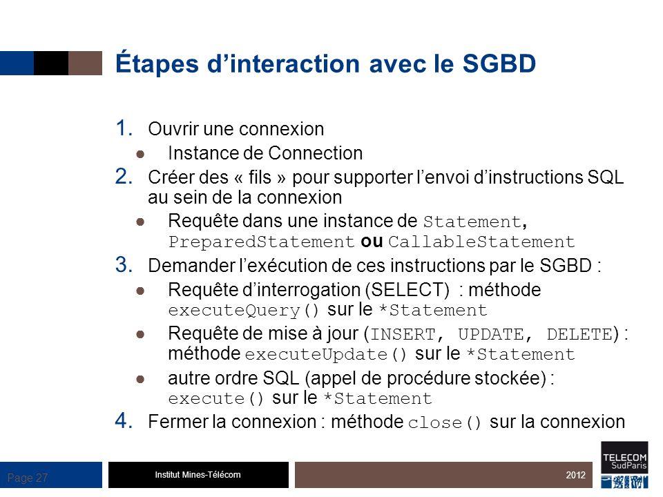 Étapes d'interaction avec le SGBD