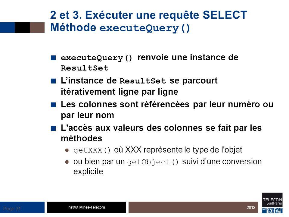 2 et 3. Exécuter une requête SELECT Méthode executeQuery()