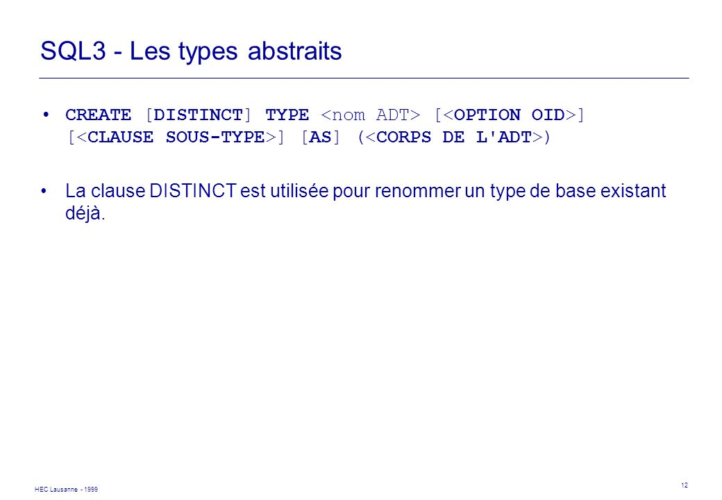SQL3 - Les types abstraits