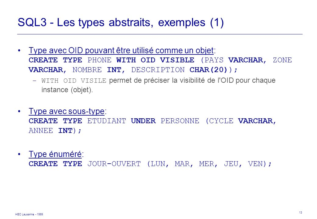 SQL3 - Les types abstraits, exemples (1)