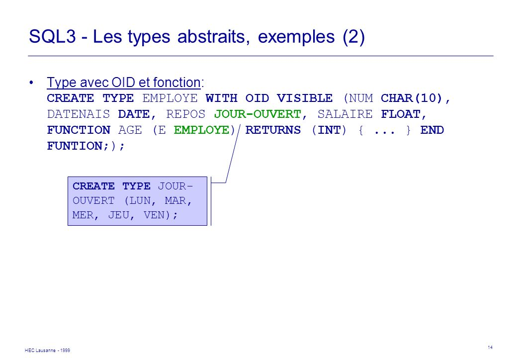 SQL3 - Les types abstraits, exemples (2)