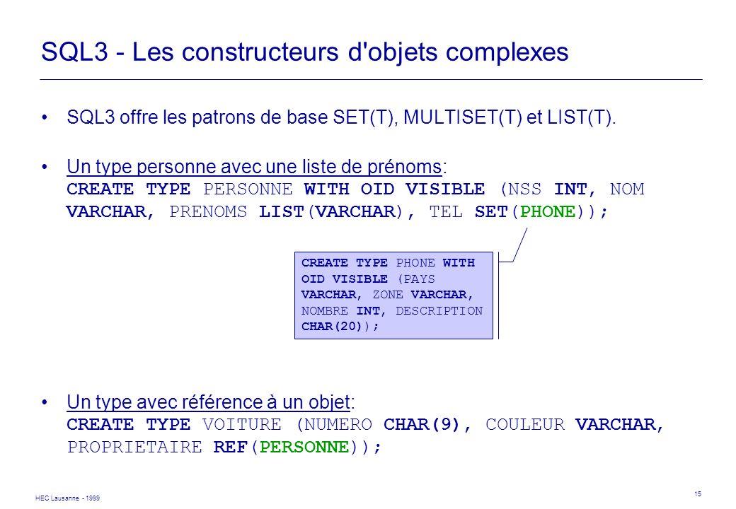 SQL3 - Les constructeurs d objets complexes