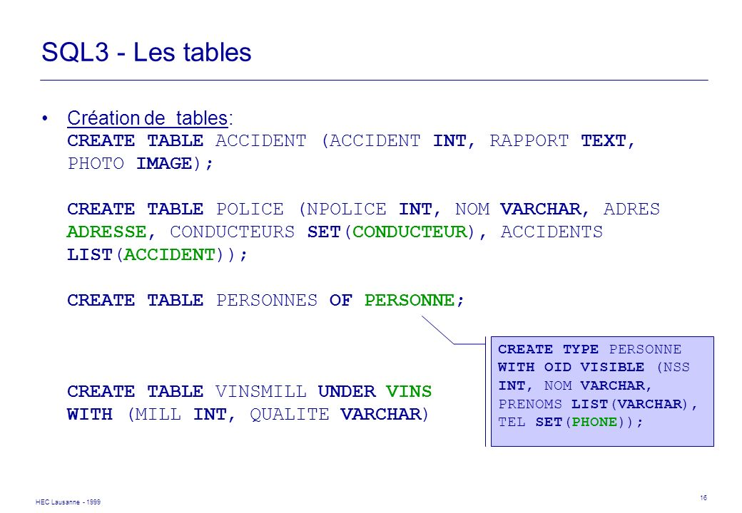 SQL3 - Les tables
