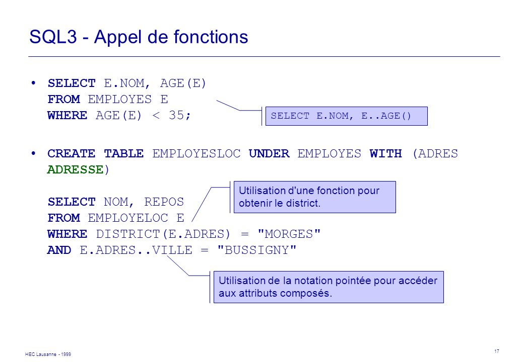 SQL3 - Appel de fonctions