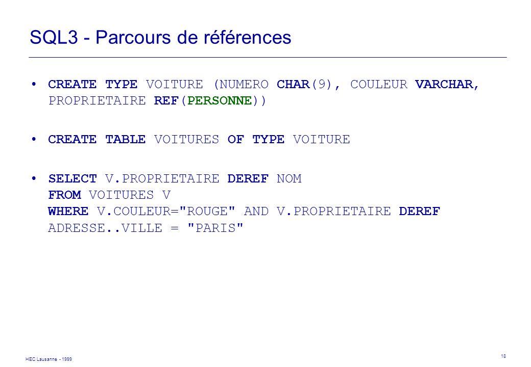 SQL3 - Parcours de références