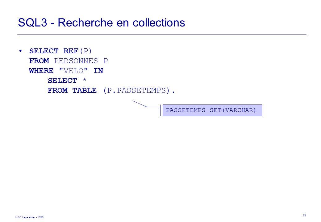 SQL3 - Recherche en collections