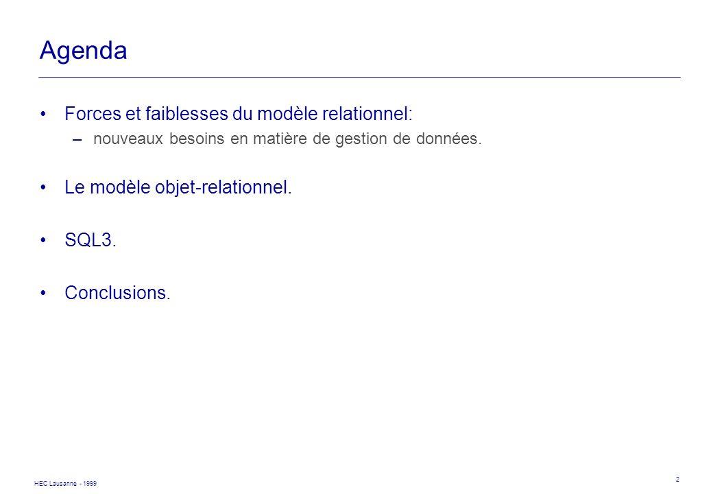 Agenda Forces et faiblesses du modèle relationnel: