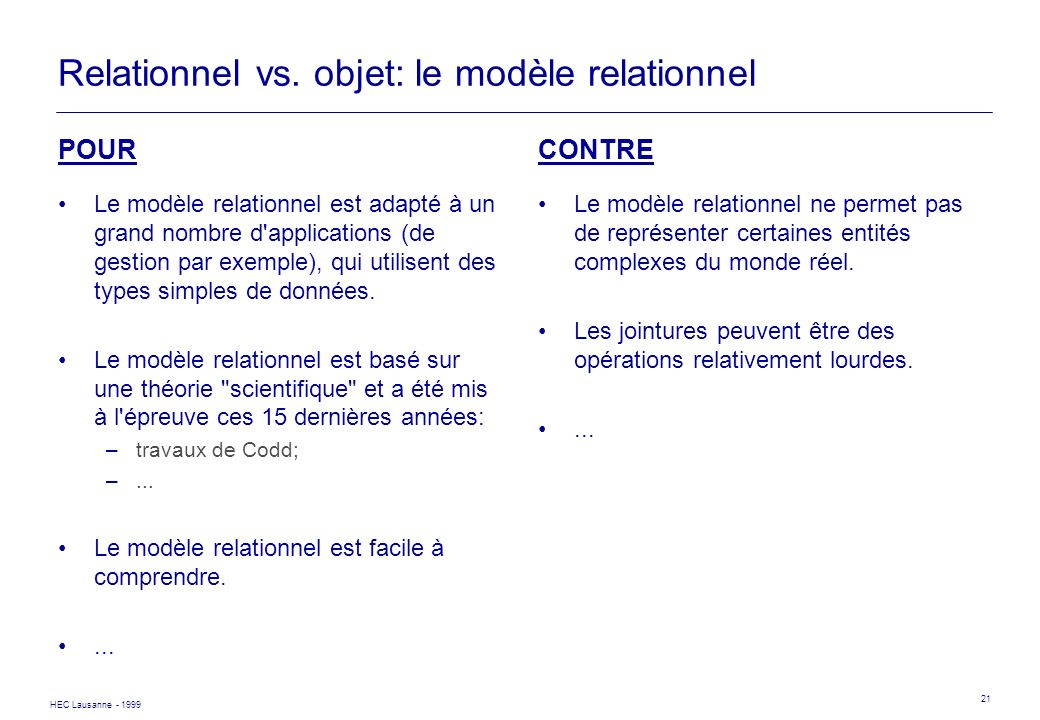 Relationnel vs. objet: le modèle relationnel