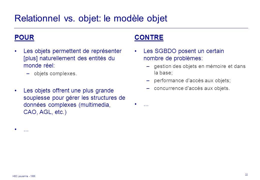 Relationnel vs. objet: le modèle objet