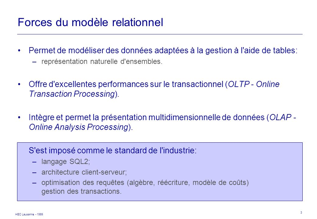 Forces du modèle relationnel