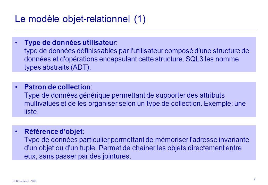 Le modèle objet-relationnel (1)