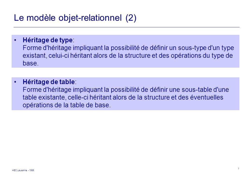 Le modèle objet-relationnel (2)
