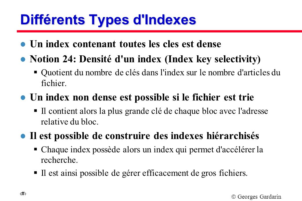 Différents Types d Indexes