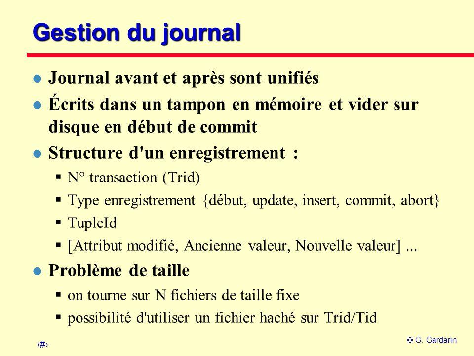 Gestion du journal Journal avant et après sont unifiés