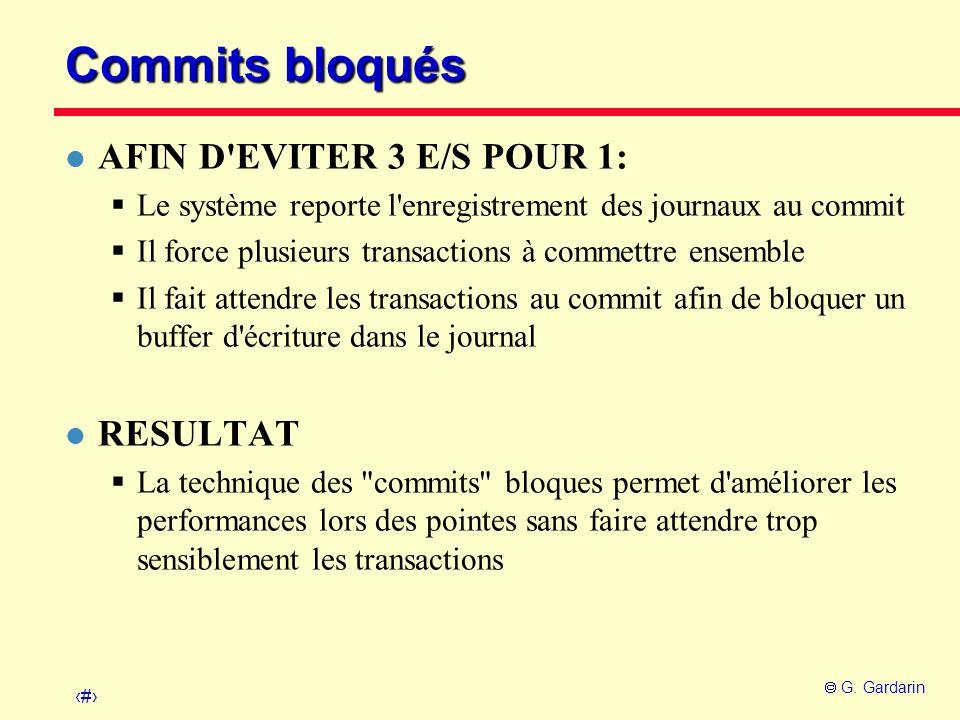 Commits bloqués AFIN D EVITER 3 E/S POUR 1: RESULTAT