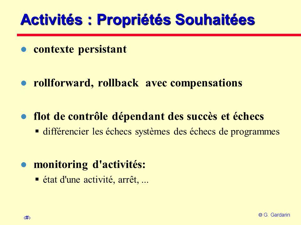 Activités : Propriétés Souhaitées