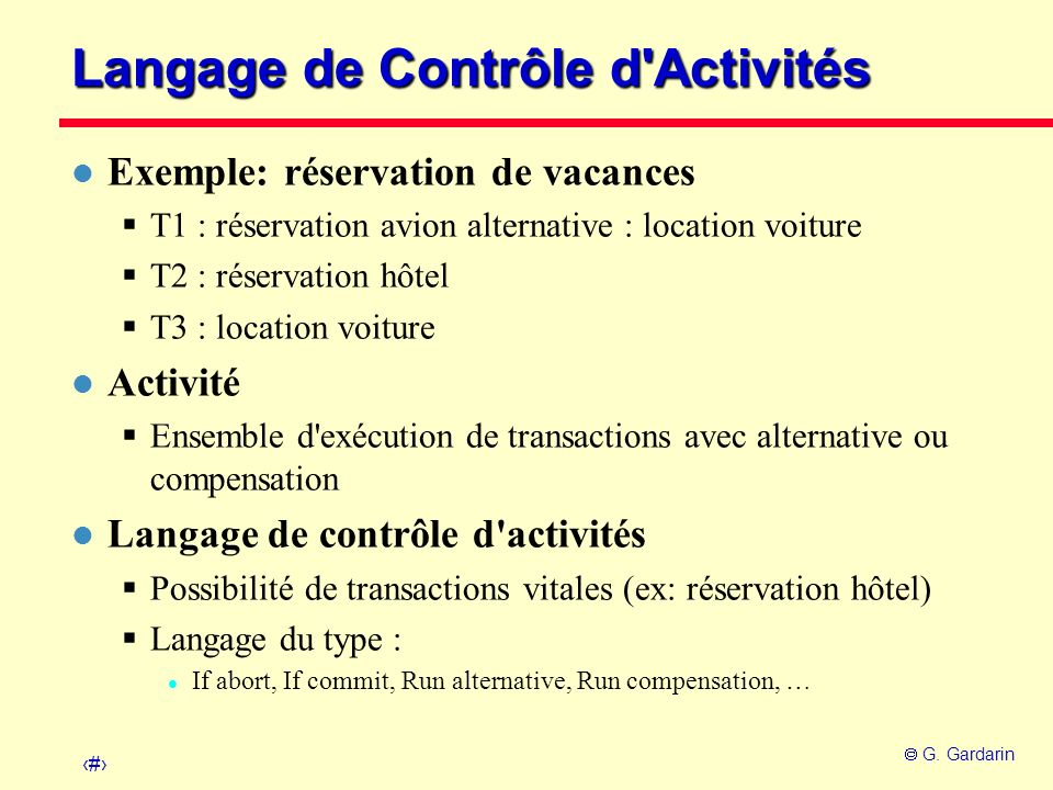 Langage de Contrôle d Activités