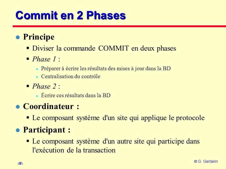 Commit en 2 Phases Principe Coordinateur : Participant :