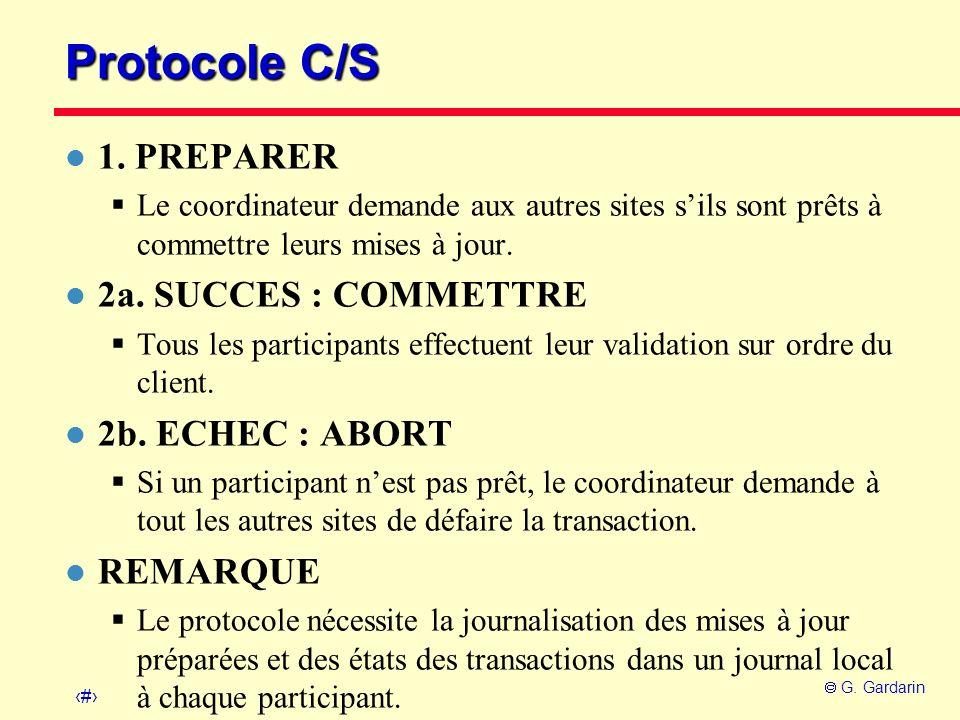 Protocole C/S 1. PREPARER 2a. SUCCES : COMMETTRE 2b. ECHEC : ABORT
