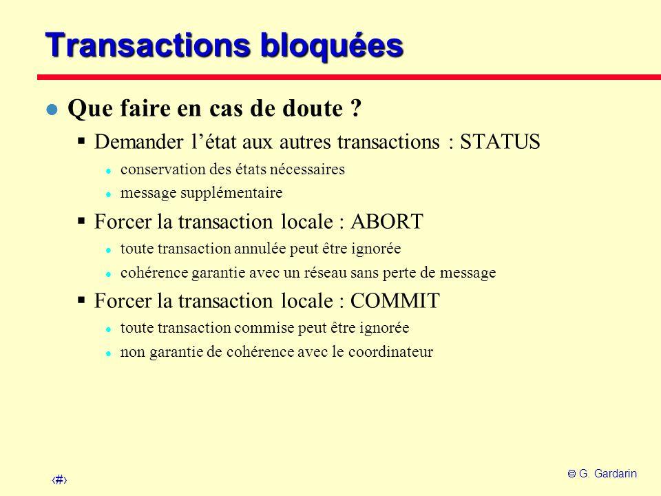 Transactions bloquées