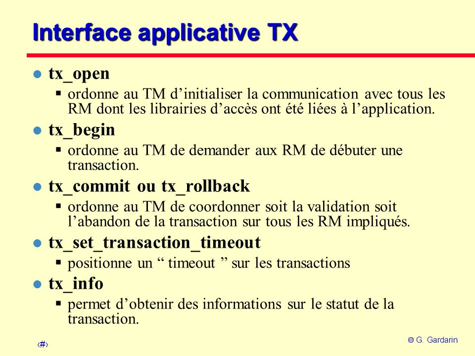 Interface applicative TX