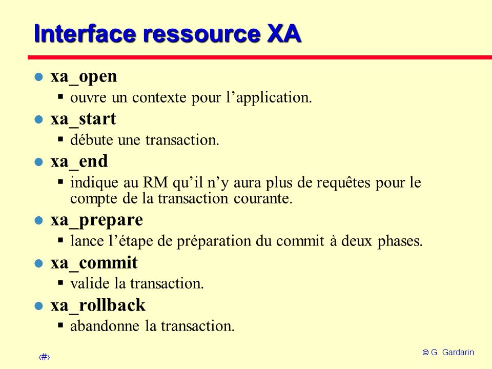 Interface ressource XA