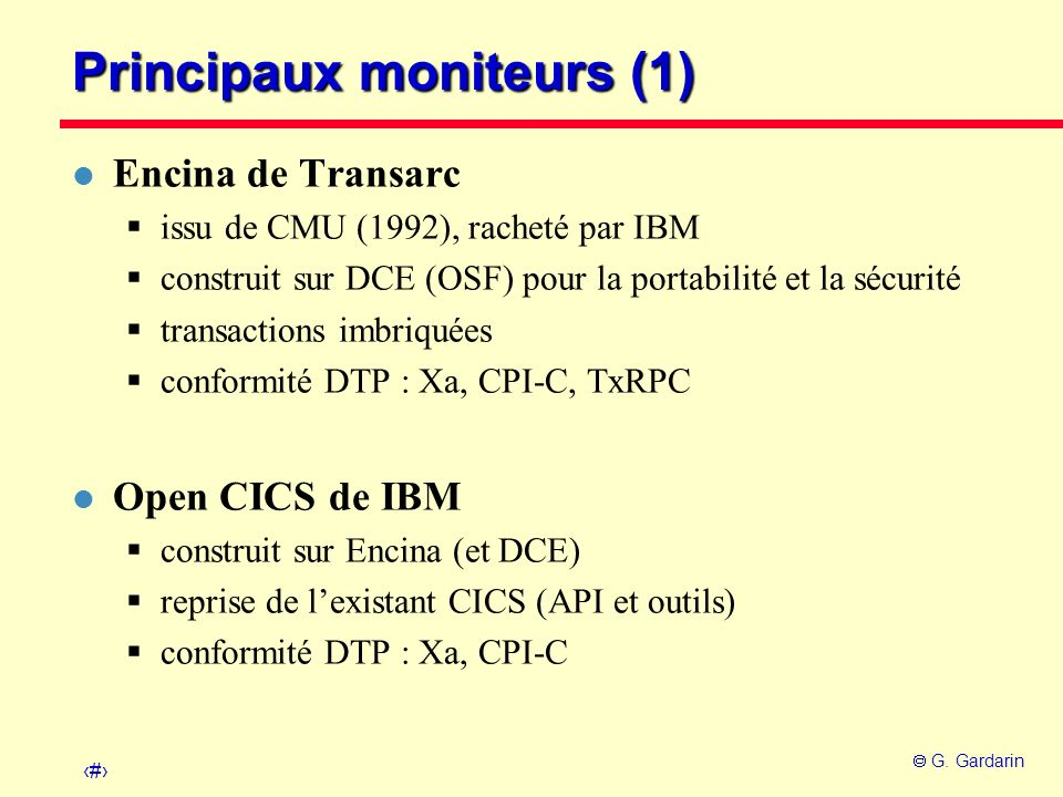 Principaux moniteurs (1)