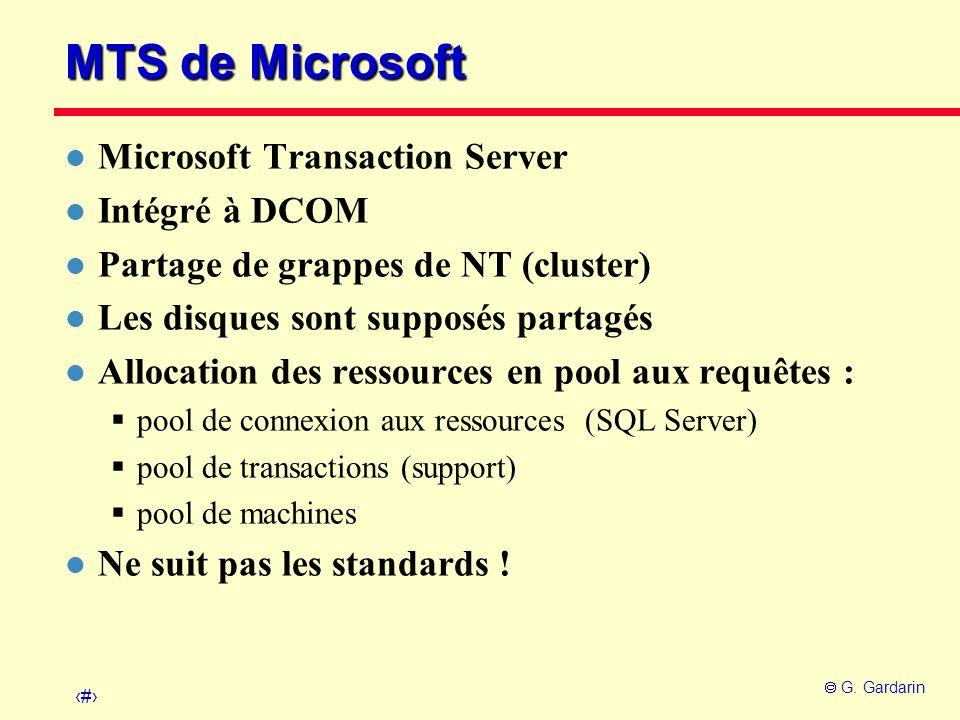 MTS de Microsoft Microsoft Transaction Server Intégré à DCOM