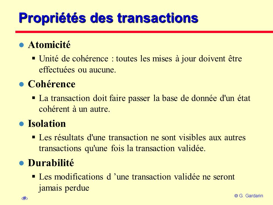 Propriétés des transactions