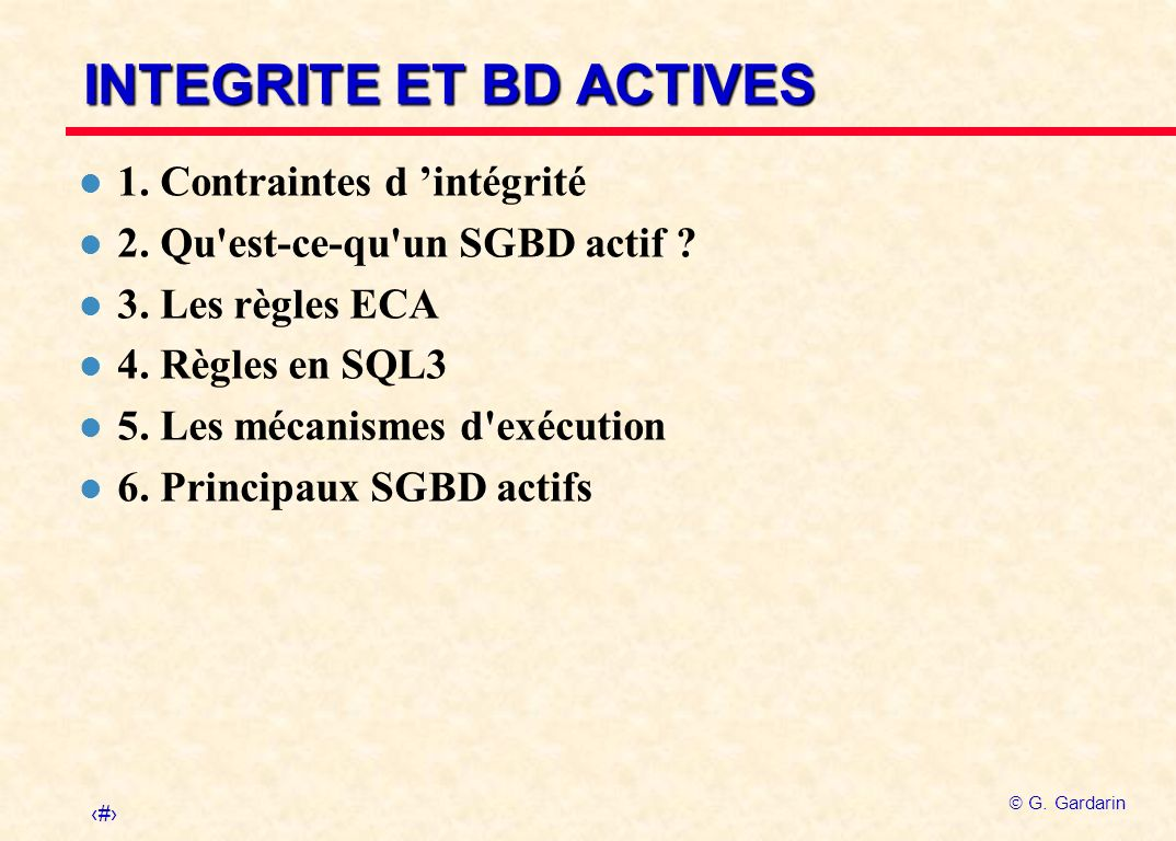 INTEGRITE ET BD ACTIVES