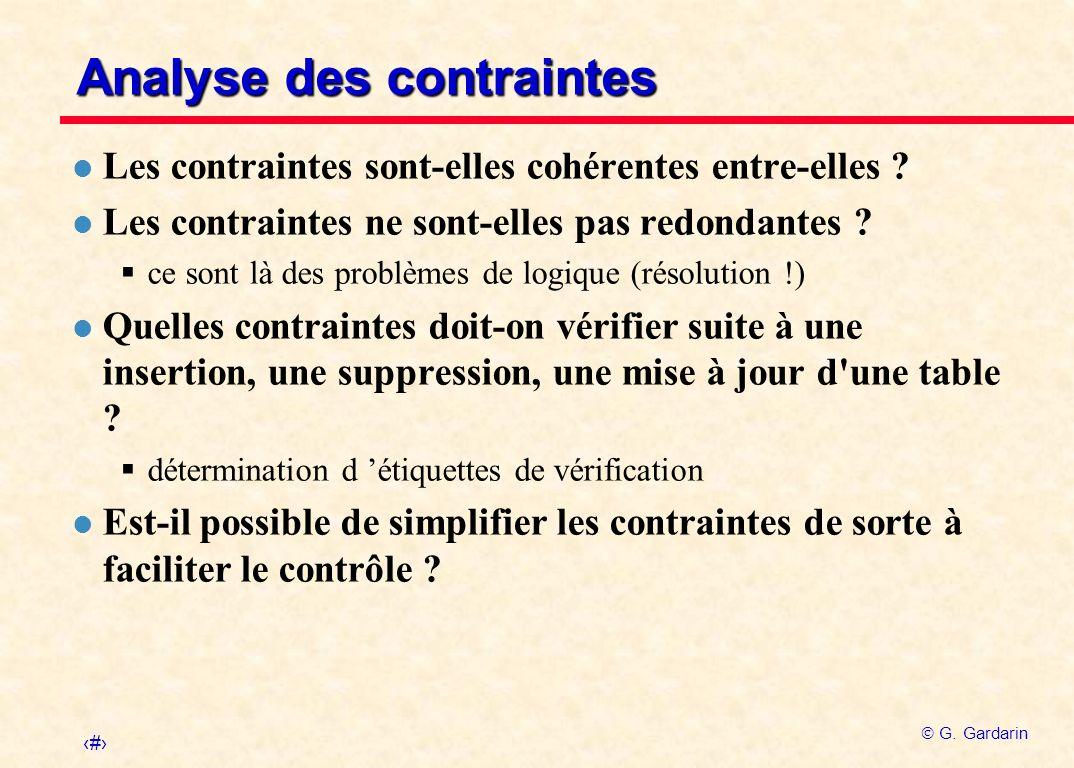 Analyse des contraintes