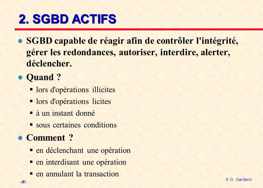 2. SGBD ACTIFS SGBD capable de réagir afin de contrôler l intégrité, gérer les redondances, autoriser, interdire, alerter, déclencher.