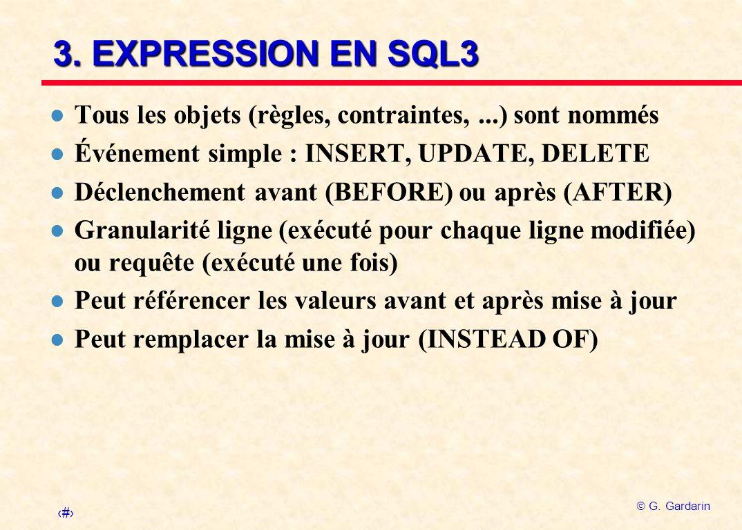 3. EXPRESSION EN SQL3 Tous les objets (règles, contraintes, ...) sont nommés. Événement simple : INSERT, UPDATE, DELETE.