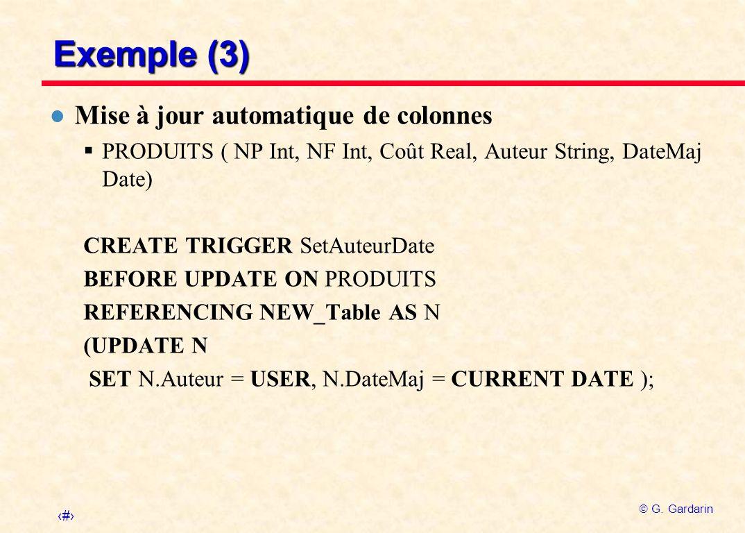 Exemple (3) Mise à jour automatique de colonnes