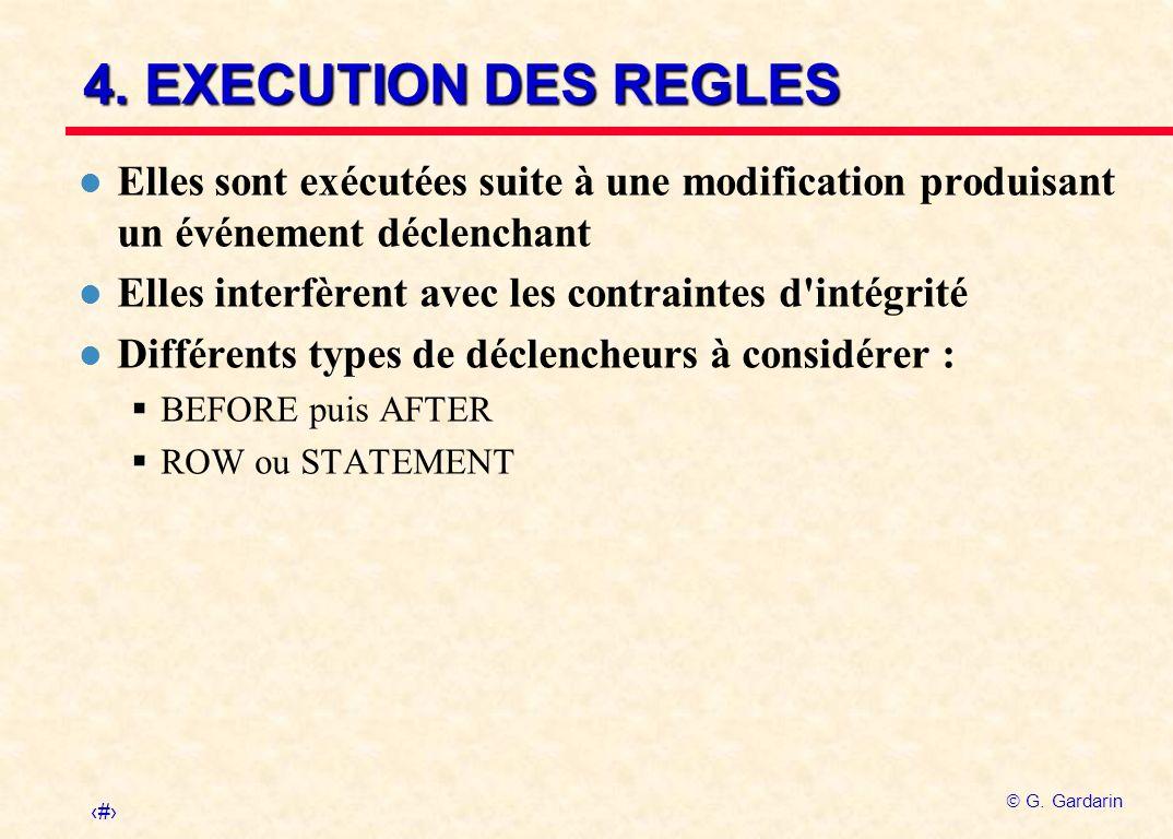 4. EXECUTION DES REGLES Elles sont exécutées suite à une modification produisant un événement déclenchant.