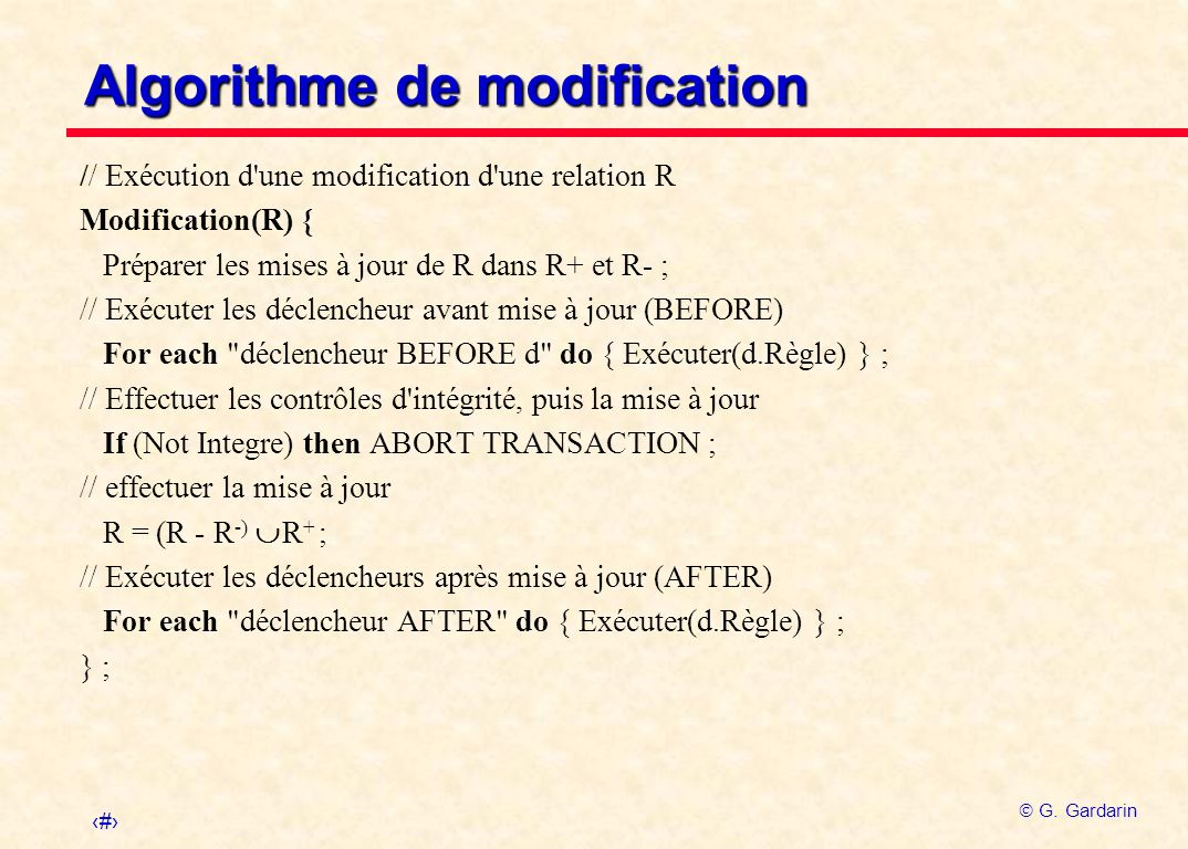 Algorithme de modification