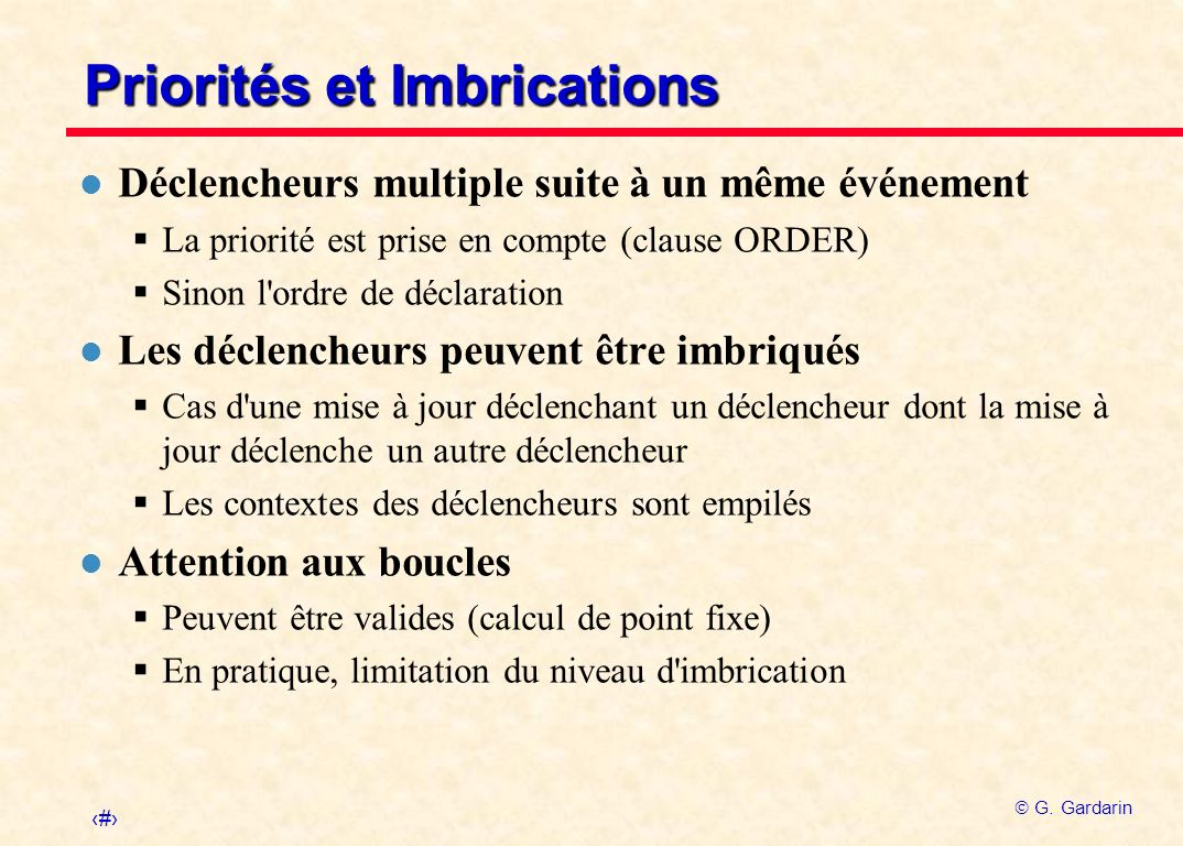 Priorités et Imbrications