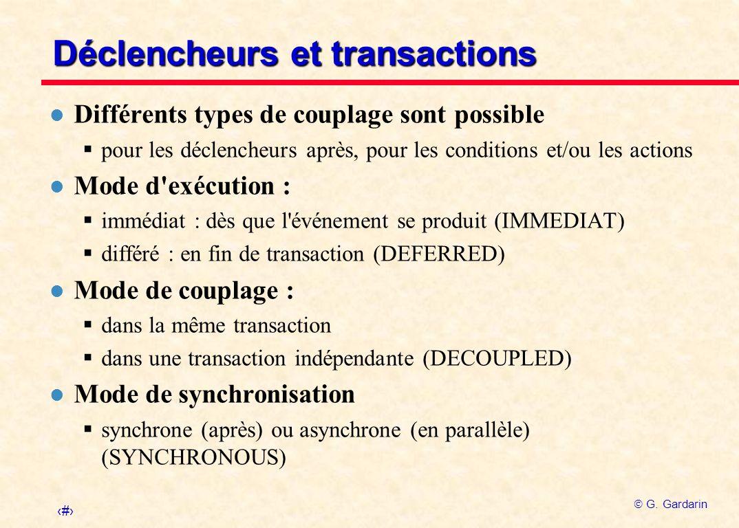 Déclencheurs et transactions