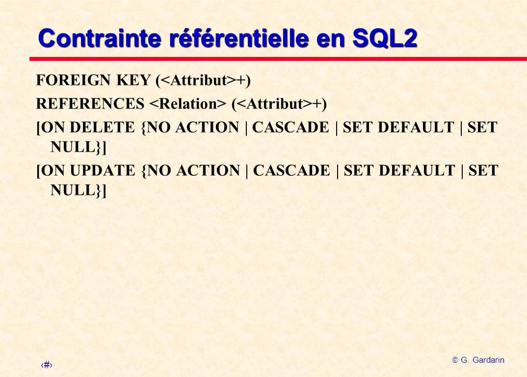 Contrainte référentielle en SQL2