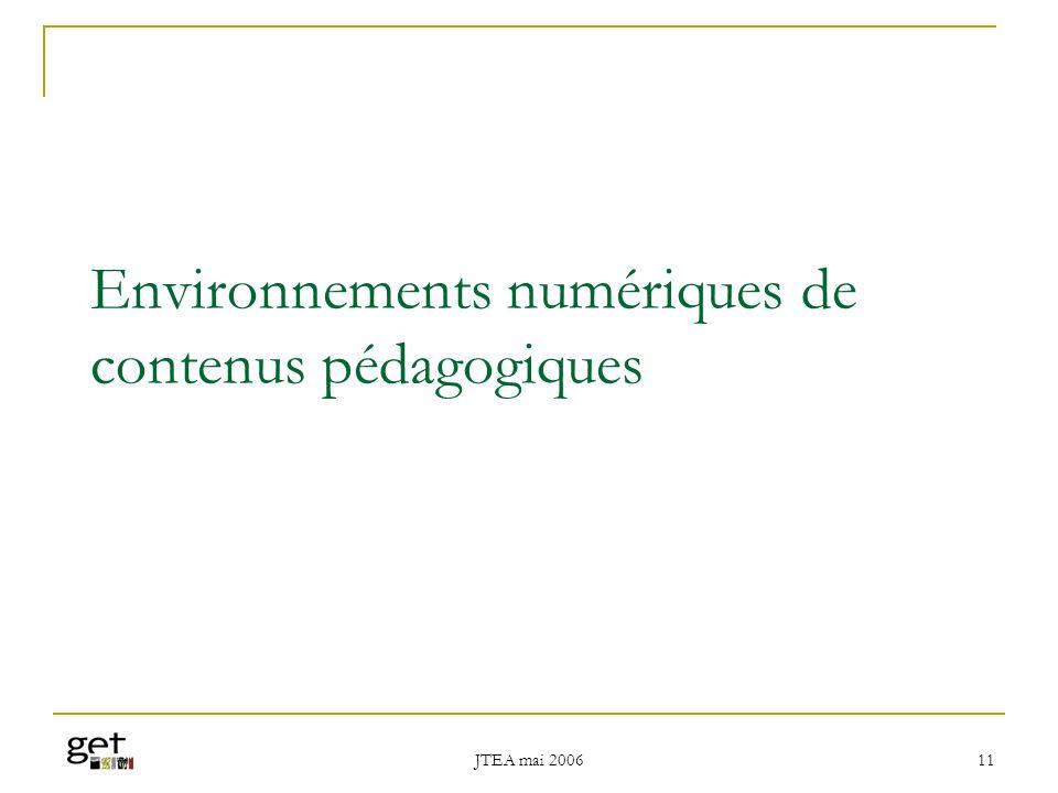 Environnements numériques de contenus pédagogiques