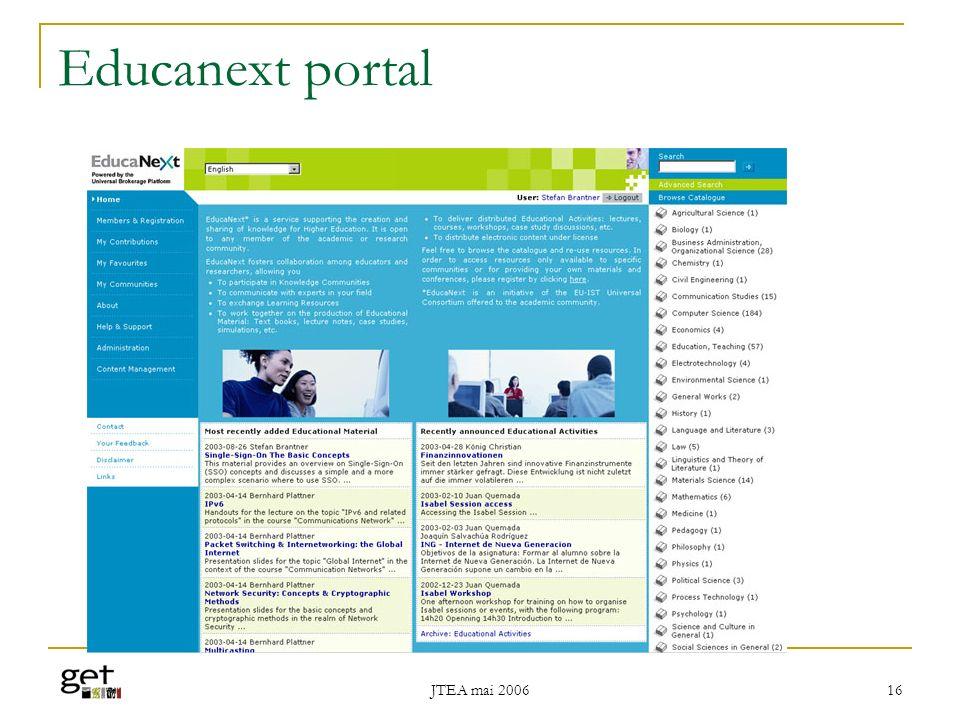 Educanext portal JTEA mai 2006