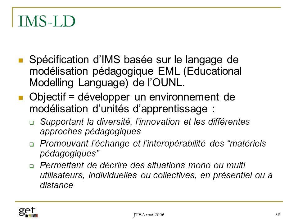 IMS-LD Spécification d'IMS basée sur le langage de modélisation pédagogique EML (Educational Modelling Language) de l'OUNL.